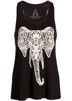 Womens Embroidered Elephant Black Loose Fit Yoga Tank Top Muscle Tee
