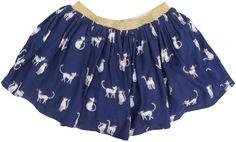 Simple Kids - donkerblauwe rok katjes - Donkerblauwe rok met een print van katjes. Elastische tailleband in gouden lurex. Losse voering. Samenstelling: 100% viscose en voering 100% katoen.