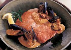 Salmon in Saffron Mussel Sauce - Bon Appétit  Sounds amazing even without the salmon