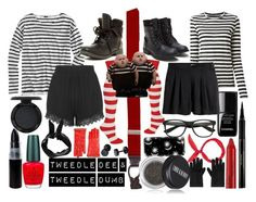 """""""Tweedle Dee & Tweedle Dumb My sister and I's Halloween costumes.."""" by chrissy-10-lee on Polyvore featuring le top, J.Crew, Proenza Schouler, H&M, Brooks Brothers, Motel, Rock & Candy, Casetify, Elizabeth Arden and Lord & Berry"""