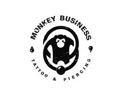 I like this logo because it uses an industrial looking font that fits the business. The monkey relates to the name but it also has piercing jewelry to illustrate that they are a tattoo and piercing business.