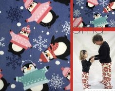 Penguin Christmas Family Pajamas Pant Fleece Matching Sibling Pajama Set Plus Size Adult Mommy and Me Teen Child Toddler Baby Infant