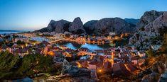 Aerial Panorama of Omis and Cetina River Gorge in the Evening, Dalmatia, Croatia Omis Croatia, Dalmatia Croatia, Share Pictures, Cool Pictures, Travel Around The World, Around The Worlds, Animated Gifs, Sendai, Night City