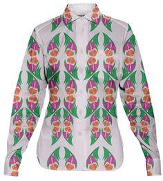 Iris Garden Women's Button Down Shirt 100% Cotton