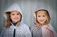 doily and white cord reversible cape, grey and pink dot reversible cape, pink swing top   available from missy melly