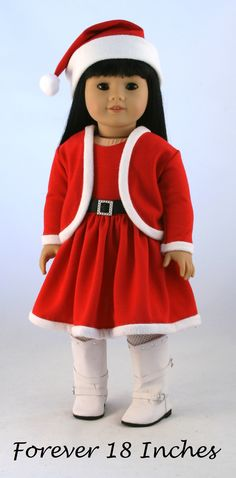 """Meet """"Miss North Pole!""""  The outfit is made from the Forever 18 Inches Curving…"""