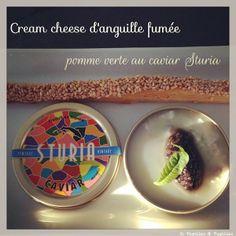 Cream cheese d'anguille fumée, pomme verte au caviar Sturia