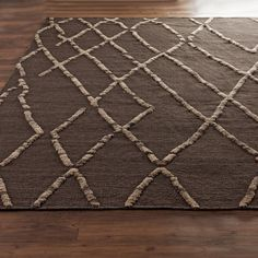 Birch Branch Trellis on Brown Flatweave Rug shades of light 9 3 x 13