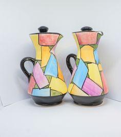 Vintage Savvas Pottery Oil & Vinegar pots Hand made from Cyprus Denby Pottery, Pottery Workshop, Abstract Sculpture, Cyprus, Edinburgh, Pencil Drawings, Vinegar, Stoneware, Pots