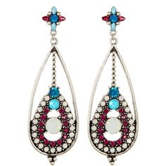Spring Street Drama Pink Blue Stone Drop Earrings ($13) ❤ liked on Polyvore featuring jewelry, earrings, stone drop earrings, pink drop earrings, earring jewelry, blue drop earrings and pink earrings