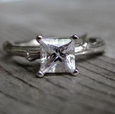 Princess Cut White Sapphire Twig Engagement Ring. $885.00, via Etsy.