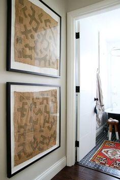 Thinking Outside the Frame: Kuba Cloth Art (House*Tweaking) Framed Fabric Art, Fabric Wall Decor, Framing Fabric, Large Framed Art, Hanging Fabric, House Tweaking, Global Decor, Textiles, Diy Wall Art