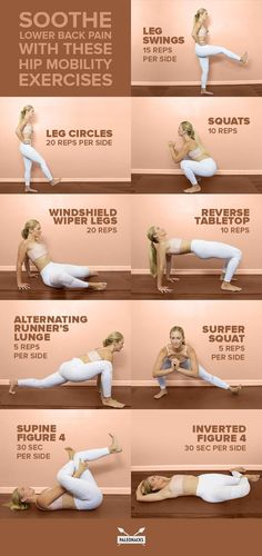 Try these nine hip mobility exercises to fix lower back pain at its root. Try these nine hip mobility exercises to fix lower back pain at its root. Fitness Workouts, Yoga Fitness, Hip Workout, Physical Fitness, At Home Workouts, Men Workouts, Exercise Workouts, Core Workouts, Healthy Exercise