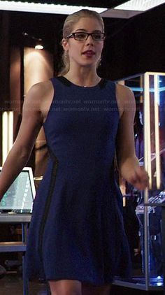 Felicity's blue dress with black leather insets on Arrow.  Outfit Details: http://wornontv.net/44434/ #Arrow