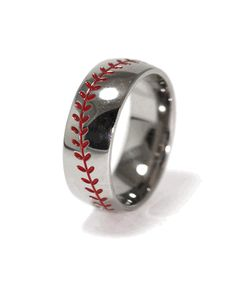 @Jessica Puglia perfect for danny!!! Baseball Wedding Band ~ @Mikayla Carson Martin