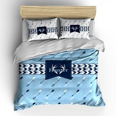 Custom Personalized Arrows & Antler Bedding Set - Available Twin-TWXL-Queen- King  size - shown  lt blue-navy-white, available  any color