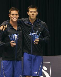 David Boudia (left) and Nick McCrory after winning the 10 meter synchronized platform event at the 2012 US Olympic Team Trials at the Weyerhaeuser King County Aquatic Center on June 2012 in Federal Way, Washington. 2012 Summer Olympics, Us Olympics, David Boudia, High Diving, Olympic Diving, Dove Men, Olympic Team, Attractive People, Sports Photos