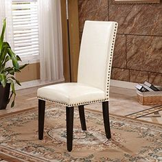 VisionXPro Inc. Classic Creamy White Faux Leather Parson Chairs (Set of 2)