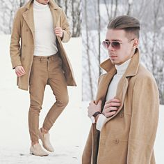 Get this look: http://lb.nu/look/8025122  More looks by Edgar Vanuska: http://lb.nu/edgar_vanuska  Items in this look:  Camel Overcoat, Daniel Wellington Leather Watch, Primark Sunglasses, White Roll Neck Sweater, H&M Camel Pants, Maison Martin Margiela Mold Effect Loafers   #chic #dapper #minimal