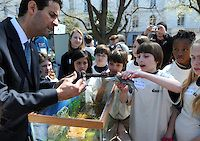 2008: Rep. John Sarbanes, D-Md., is shown Diamondback Terrapins by Zach Bell and other fifth-graders from South Shore Elementary in Crownsville, Md.