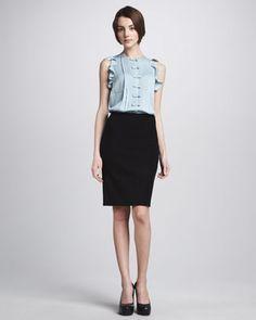 Noralie Ruffled Blouse & Esme Pencil Skirt by Diane von Furstenberg at Neiman Marcus.