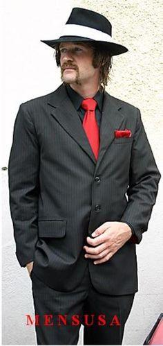 SKU#MUBR3 Men Black & Red Stripe Vested Suit 3 Button Suit + Black Shirt & Red Tie Package $149
