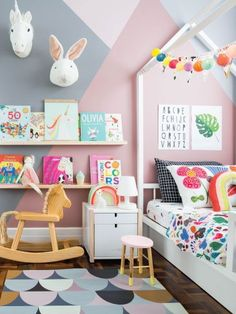 Stylish & Chic Kids Room Decorating Ideas - for Girls & Boys Baby Bedroom, Girls Bedroom, Childrens Bedrooms Girls, Girls Room Paint, Room Boys, Kids Room Design, Little Girl Rooms, Nursery Inspiration, Kid Spaces