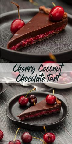 No Bake Cherry Ripe Slice Cherry Coconut Chocolate Tart by Sugar Salt Magic. A luscious layer of fresh cherry and coconut combine in a chocolate pastry shell, smothered in creamy chocolate ganache. via Sugar Salt Magic Cherry Recipes, Tart Recipes, Sweet Recipes, Baking Recipes, Cherry Desserts, Chocolate Pastry, Chocolate Ganache, Chocolate Recipes, Coconut Chocolate