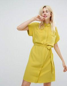 df8b33902a Monki Tie Waist Shirt Dress  shirtdress  yellowshirtdress  monki Shirt  Bluse