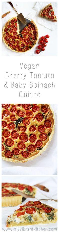 My Vibrant Kitchen   Vegan Cherry Tomato & Baby Spinach Quiche   myvibrantkitchen.com