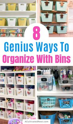 Home organization doesn't have to be difficult. In fact, you can organize virtually every area of your home easily with bins! For inspiration, check out these 8 ways to organize with bins! Playroom Storage, Basement Storage, Craft Storage, Household Organization, Bathroom Organisation, Storage Organization, Home Storage Solutions, Montessori Classroom, Small Space Storage