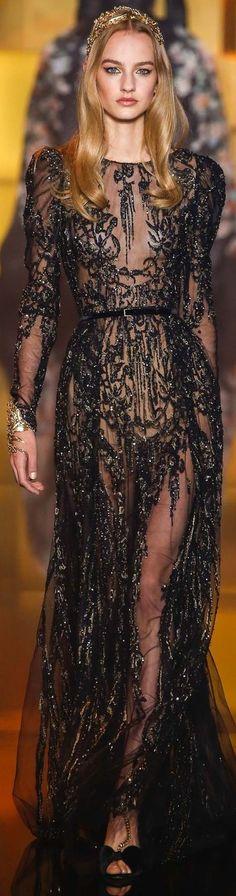 Vestido de Festa bordado com vidrilhos.  www.ldicristais.com.br  Elie Saab ~ Couture Black + Silver Beaded Sheer Gown, 2015
