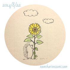 ひまわり。#ハリネズミ 247 a sunflower #hedgehog #illustration #drawing #はりねずみ #イラスト #ペン画 #illustagram