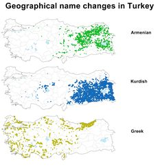 Geographical Name Changes In Turkey. [[MORE]] Geographical name changes in Turkey have been undertaken, periodically, in bulk from 1913 to the present by successive Turkish governments. Turkey History, The Old Curiosity Shop, Armenian Culture, Old World Maps, Name Change, Place Names, Orient, Historical Maps, Archaeology