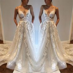 Cheap White Lace Appliques A-Line Prom Dresses Sexy V-Neck Spaghetti Strap Long Prom Dress Simple Lace Sleeveless Prom Dresses