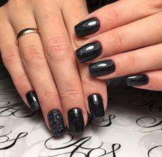 Black dress nails, Black nails ideas, Caviar nails, Dusty nails, Night nails, Original nails, Party nails, Space nails