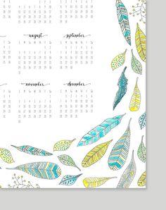 Printable Feather Calendar 2014 Calendar 11x17 by alexazdesign