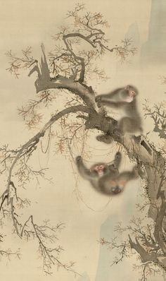 Detail. Attributed to: Mori Sosen, (1747 - 1821) Monkeys. Late 18th - early 19th century. Japan. Hanging scroll, ink and color on silk.