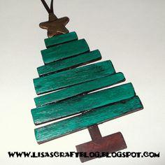 Wooden Slat Tree Ornament TUTORIAL **************************************** Lisa's Craft Blog #handmade #Christmas #ornament
