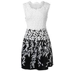 Stylish Round Neck Sleeveless Spliced Printed Women's Dress Vintage Dresses   RoseGal.com Mobile