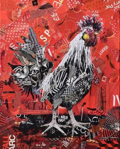 Rooster original artwork is created from magazine pages and glued onto a stretched canvas topped with protective...