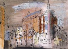 John Piper(British, Shanklin, Isle of Wight 1954 Gouache on paper Edward Hopper, John Piper Artist, Leicester, Monuments, Building Art, Isle Of Wight, Urban Landscape, Love Art, Painting Inspiration