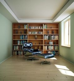 Masculine Home Library Render