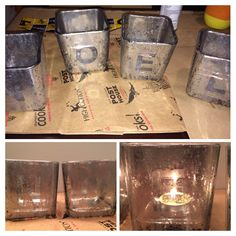 DIY Mercury glass candle holders for Christmas.  I could use my Bath and Body Works candle jars...