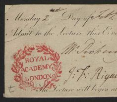 Admission tickets to the Royal Academy of London lectures and other events, 1812-1864, bulk 1812-1820. Spencer Bickerton collection. The Metropolitan Museum of Art, New York. Thomas J. Watson Library (b17234098)