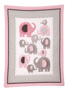 Baby Elephant Quilt Nursery Pink Wal Mart