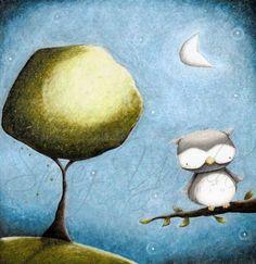 Owl+Art+Print+bird+art+mixed+media+illustration+by+staceyyacula,+$20.00
