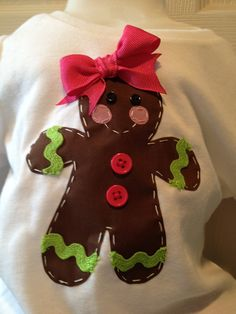 Gingerbread applique hoping i can find someone to make the girls one of these! - Holiday Shirts - Ideas of Holiday Shirts - Gingerbread applique hoping i can find someone to make the girls one of these! Christmas Applique, Christmas Sewing, Christmas Shirts, Christmas Projects, Ugly Christmas Sweater, Kids Christmas, Christmas Stockings, Xmas, Christmas Clothes
