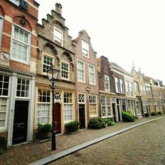 TYPICAL DUTCH ARCHITECTURE~ ROW HOUSES~ Dordrecht, The Netherlands.