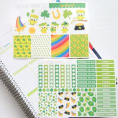 St. Patrick's Day Planner Stickers Kit by OldSoulPaperCo on Etsy
